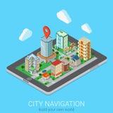 De vlakke 3d isometrische vectorspeld van de de tabletkaart van de stads mobiele navigatie Royalty-vrije Stock Afbeelding