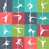 De vlakke dans van de stijlpool en de pictogrammen van de poolgeschiktheid Vectorsilhouetten van vrouwelijke pooldansers Royalty-vrije Stock Afbeeldingen