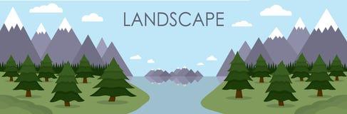 De vlakke die illustratie van berglandschap dacht in meer na door het bos van de pijnboomboom wordt omringd Stock Afbeelding