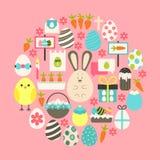 De Vlakke die Pictogrammen van Pasen over roze worden geplaatst Stock Afbeelding