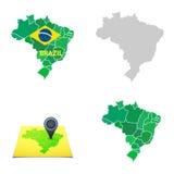 De vlakke eenvoudige kaart van Brazilië Stock Afbeelding