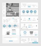 De vlakke elementen van de websitenavigatie met banners en conceptenpictogrammen Stock Foto