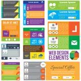 De vlakke elementen van het Webontwerp Stock Fotografie