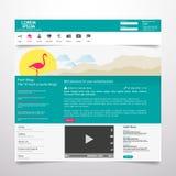 De vlakke elementen van het Webontwerp, knopen, pictogrammen Het malplaatje van de website Stock Fotografie