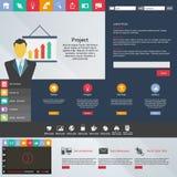 De vlakke elementen van het Webontwerp, knopen, pictogrammen. Websitemalplaatje. Stock Foto