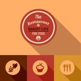 De vlakke fijne elementen van het voedselontwerp Stock Fotografie