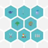 De vlakke Fles van de Pictogrammennevel, Gieter, Groen Hout en Andere Vectorelementen Reeks het Tuinieren Vlakke Pictogrammensymb Royalty-vrije Stock Fotografie