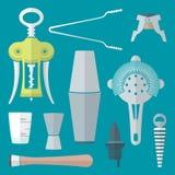 De vlakke geplaatste instrumenten van de stijlbarman Stock Afbeelding
