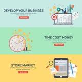 De vlakke geplaatste pictogrammen ontwikkelen uw zaken, het geld van tijdkosten, opslagmarkt Royalty-vrije Stock Fotografie