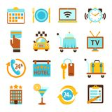De vlakke geplaatste pictogrammen van de hoteldiensten Royalty-vrije Stock Afbeeldingen