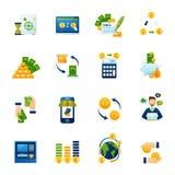 De vlakke geplaatste pictogrammen van de muntuitwisseling Royalty-vrije Stock Afbeeldingen