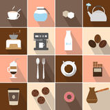 De vlakke geplaatste pictogrammen van de ontwerpkoffie Stock Fotografie