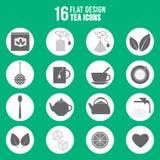 De vlakke geplaatste pictogrammen van de ontwerpthee Royalty-vrije Stock Afbeeldingen
