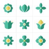 De vlakke Geplaatste Pictogrammen van de pictogrambloem, Vectorontwerp Stock Fotografie