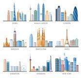 De vlakke geplaatste pictogrammen van de stadshorizon Stock Foto's