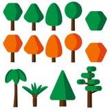 De vlakke geplaatste pictogrammen van de stijl eenvoudige boom Royalty-vrije Stock Foto's