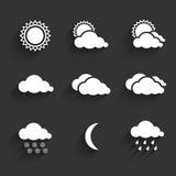 De vlakke geplaatste pictogrammen van het ontwerpweer Stock Foto's