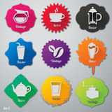 De vlakke geplaatste pictogrammen van koffieelementen Royalty-vrije Stock Fotografie