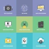 De vlakke geplaatste pictogrammen van netwerkdatadiensten Royalty-vrije Stock Afbeelding