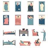De Vlakke Geplaatste Pictogrammen van slaapmensen vector illustratie