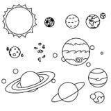De vlakke geplaatste planeten van het stijlzonnestelsel royalty-vrije illustratie