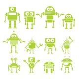 De vlakke groene robots van de ontwerpstijl en cyborgs Royalty-vrije Stock Foto