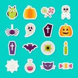 De vlakke Halloween-Partij heeft Geplaatste Stickers bezwaar Vector Illustratie