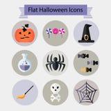 De vlakke Halloween-pictogrammen plaatsen 2 Stock Afbeelding