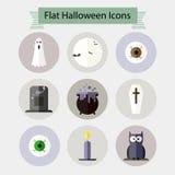 De vlakke Halloween-pictogrammen plaatsen 1 Royalty-vrije Stock Afbeelding
