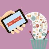 De vlakke hand die van de ontwerpstijl mobiel apparaat houden koopt Stock Foto