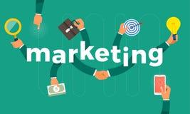 De vlakke hand van het ontwerpconcept leidt symbool tot pictogram en woorden marketing royalty-vrije illustratie