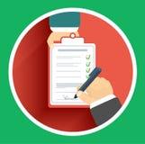 De vlakke handtekening van de ontwerplevering en hand twee Stock Foto's