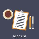De vlakke Illustratie van aan-maakt van een lijst, Stock Foto