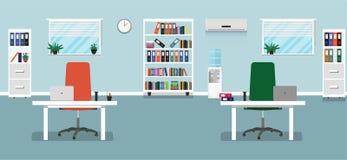 De vlakke illustratie van het bureauconcept Vector illustratie stock illustratie