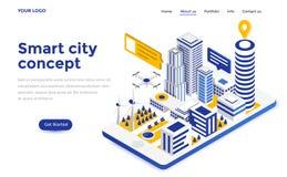 De vlakke Illustratie van het kleuren Moderne Isometrische Concept - Slimme stad stock illustratie