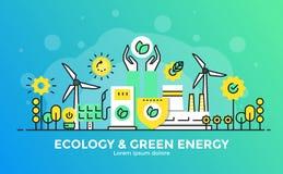 De vlakke Illustratie van het Lijn Moderne Concept - Ecologie en Groene Energie stock illustratie