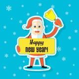 De vlakke illustratie van de kunststicker van een beeldverhaal Santa Claus met een felicitatieaffiche Gelukkig Nieuwjaar vector illustratie