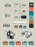 De vlakke infographic inzameling van grafieken, grafieken, toespraak borrelt, regelingen, diagrammen Stock Afbeeldingen