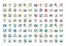 De vlakke inzameling van lijn kleurrijke pictogrammen van reis en toerisme
