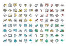 De vlakke inzameling van lijn kleurrijke pictogrammen van website en app ontwikkeling stock illustratie