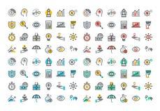 De vlakke inzameling van lijn kleurrijke pictogrammen van zaken en financiën stock illustratie