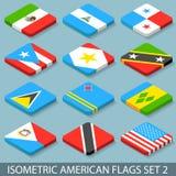 De vlakke Isometrische Amerikaanse Vlaggen plaatsen 2 Stock Foto's