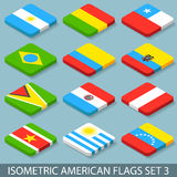 De vlakke Isometrische Amerikaanse Vlaggen plaatsen 3 Stock Foto
