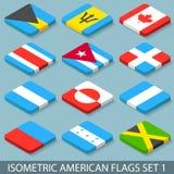 De vlakke Isometrische Amerikaanse Vlaggen plaatsen 1 Stock Afbeeldingen