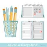 De vlakke kalender van de kantoorbehoeftenagenda op wit Stock Afbeeldingen