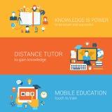 De vlakke kennis is macht, mobiel het onderwijsconcept van de afstandsprivé-leraar Royalty-vrije Stock Foto