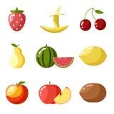 De vlakke kers van de het verse fruitappel van ontwerppictogrammen Stock Foto