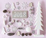 De Vlakke Kerstmisdecoratie, legt, Tekst 2018 Stock Foto's