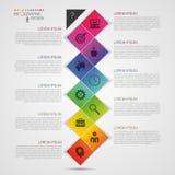 De vlakke kleurrijke abstracte vectorillustratie van chronologieinfographics met rechthoek Royalty-vrije Stock Foto's