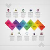 De vlakke kleurrijke abstracte vectorillustratie van chronologieinfographics met rechthoek Royalty-vrije Stock Afbeelding